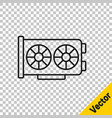 black line video graphic card icon isolated on vector image vector image