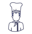 blue contour of half body of faceless male chef vector image vector image