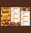 bread pastry and bakery menu vector image vector image