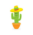 cactus cartoon character in pot isolated cactus vector image vector image