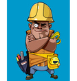 cartoon man in a helmet with tools standing vector image vector image