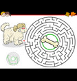 cartoon maze game with dog and bone vector image vector image