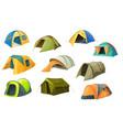 cartoon tents icons camping equipment set vector image vector image