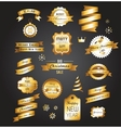 Christmas gold vintage labels elements and vector image