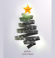 christmas tree made of black ribbon on bright vector image vector image