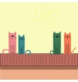 Colorful funny cats sitting on the roof vector image vector image
