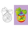 Coloring Book Of Christmas Yellow Ball vector image vector image