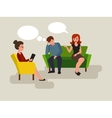 Couple at the psychologist cartoon vector image