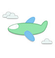 cut out fabric or paper checkered green airplane vector image vector image