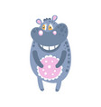 cute cartoon hippo character standing front view vector image vector image