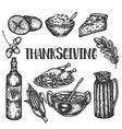 doodle thanksgiving set sketch design of vector image vector image