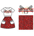 dress skirt pattern design for girls red leopard vector image