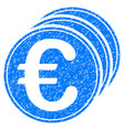 euro coins grunge icon vector image vector image