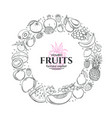 frame with hand drawn fruits vector image
