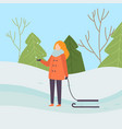 girl wearing warm winter clothes standing with vector image vector image