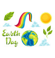 happy earth day set of items vector image