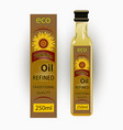 label for refined sunflower oil with sunflo vector image vector image