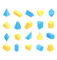 lot of blue and yellow geometric figures poster vector image