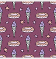 lovely seamless pattern with hand-drawn donuts vector image