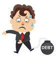 man is in debt on white background vector image vector image