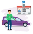 Man with car and driver license vector image vector image