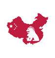 map china with flag and lion vector image vector image