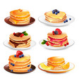 maple pancakes isolated set vector image