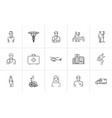 medicine hand drawn outline doodle icon set vector image vector image