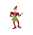 medieval castle joker or jester in red colorful vector image vector image