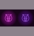neon piglet face in purple and violet color vector image vector image