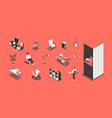 office isometric set vector image vector image