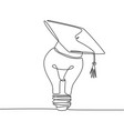 one single line drawing bright lightbulb vector image