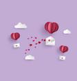 paper hot air balloon heart shape hang envelope vector image vector image