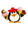 penguin with ice cream cartoon style color image vector image vector image