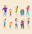 people water drinking young persons male female vector image vector image