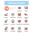 printing works - line design icons set vector image vector image