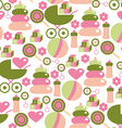 Seamless Pattern for Baby Girl Kids Staff in Pink vector image vector image