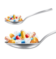 spoon with medicines isolated vector image