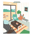 stylish interior living room or salon full of vector image vector image