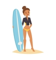 Surfing people girl vector image vector image