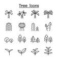 tree thin line icon set vector image vector image