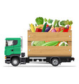 truck car full vegetables products vector image vector image