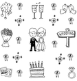 Wedding set party doodle vector image vector image