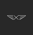 Winged letter X monogram logo mockup design vector image vector image