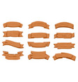 wooden ribbon signboards cartoon wood curved vector image