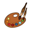 palette with paints and brushes isolated vector image