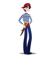 pirate boy with dagger cute young man in style of vector image