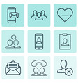 set of 9 social icons includes phone messaging vector image