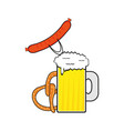 beer sausage and pretzel vector image