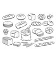 bread outline icons vector image vector image